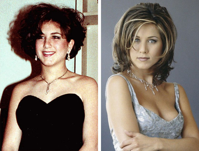 Фото Дженнифер Энистон до и после пластики носа